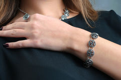 A model displays of jewelery. The A model displays of jewelery Royalty Free Stock Photo