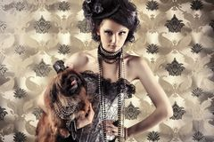 Model with dog Royalty Free Stock Images