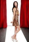 Model dragende dierlijke af:drukken kleding op de loopbrug royalty-vrije stock afbeelding