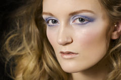 Model in dramatic makeup. Portrait of beautiful model with dramatic makeup Stock Photography