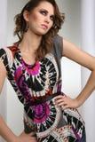Model in dress. Curly brunette model in dress Stock Photo