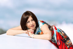 Model in dress posing on exterior set close up daydream Stock Photography