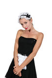 Model dressed in maid outfit Royalty Free Stock Image