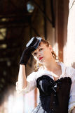Model dressed in victorian or steampunk style Royalty Free Stock Photo
