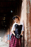 Model dressed in victorian or steampunk style Stock Photo