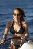 Model driving sailing boat Stock Photos