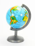 Model of the Earth is a globe. The Atlantic ocean on the diagonal of the globe connects four continents - North America, South America, Eurasia, Africa Royalty Free Stock Image