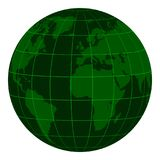 Model Earth globe with continents and a coordinate grid, dark green matrix of the crisis, the zoom vector 3D globe with. Meredian and parallel, color crisis Royalty Free Stock Image