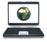 Model of the earth on laptop screen Royalty Free Stock Images