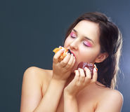 Model eating dessert Royalty Free Stock Images