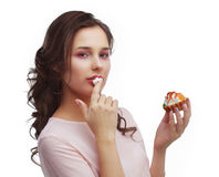 Model eating dessert Stock Photography