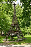 The model of the Eiffel Tower in city park, Russia Royalty Free Stock Photo