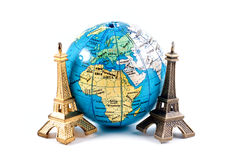 Model Eiffel tower and globe Stock Image