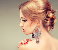 Model with elegant hairstyle Royalty Free Stock Images