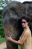 Model and elephant. royalty free stock photography