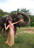 Model and elephant. Stock Photo