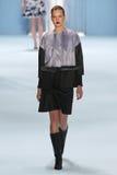 Model Elisabeth Erm walks the runway wearing Carolina Herrera Fall 2015 Collection Stock Images