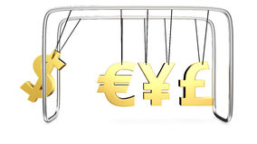 Money's cradle. Model of Executive Ball Clicker or Newton's cradle by the currency symbols Royalty Free Stock Photos