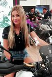 A model during exhibition of Motocycles 2017 Royalty Free Stock Photo