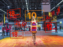 Model at an exhibition stand at the Photokina 2014 Royalty Free Stock Image