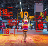 Model at an exhibition stand at the Photokina 2014 Royalty Free Stock Images
