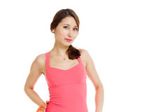 Model expressing positivity. Model isolated on plain background in studio Royalty Free Stock Photography