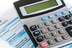 Model f24 for the payment of taxes in Italy with calculator Stock Photos