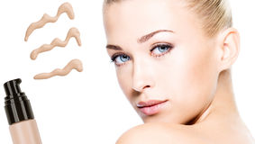 Model face of beautiful woman with foundation on skin Royalty Free Stock Images