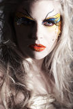Model face with bodypainting Stock Photo