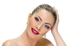 Model face, lips make-up, earring Stock Photo