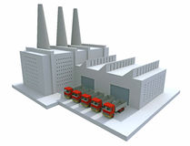 Model factory. 3D render of a generic factory Royalty Free Stock Image
