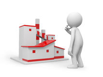 Model of factory. A 3d man thinking face to a model of factory Royalty Free Stock Photos