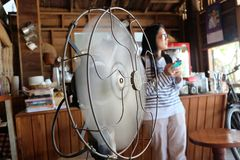 The model fan and somelady Stock Image