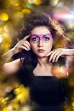 Model with fantasy glitter make-up Royalty Free Stock Images
