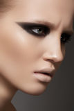 Model with fashion catwalk make-up and purity skin Royalty Free Stock Image