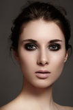 Model with fashion catwalk make-up, purity skin, hairstyle stock image