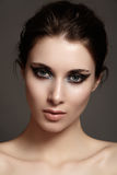 Model with fashion catwalk make-up, purity skin, hairstyle Royalty Free Stock Photo