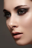 Model with fashion catwalk make-up, purity skin, hairstyle stock photos