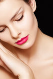 Model with fashion pink lips make-up, clean skin Royalty Free Stock Image