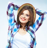 Model fashion posing in casual clothes. Royalty Free Stock Images