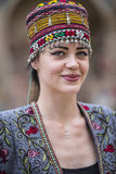 Model in a fashion show in Bukhara. stock photo