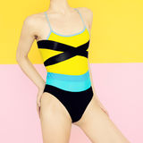 Model in fashionable bright swimsuit. Royalty Free Stock Photos