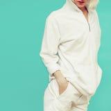 Model in fashionable white sportswear. royalty free stock photo