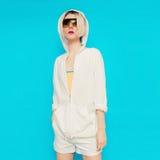 Model in fashionable white sportswear. Hoody & Shorts Royalty Free Stock Photos