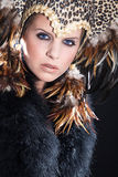 Model with feather headdress Stock Image