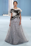 Model Fei Fei Sun walks the runway wearing Carolina Herrera Fall 2015 Collection Stock Image