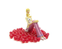 Model female and red beads Stock Image