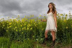 Model In Field Of Flowers Stock Images