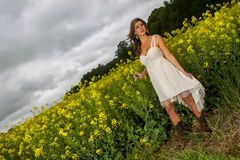Model In Field Of Flowers Royalty Free Stock Photos