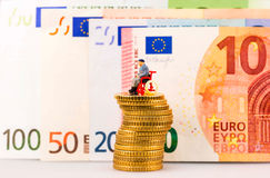 Model figure and european money Royalty Free Stock Photos